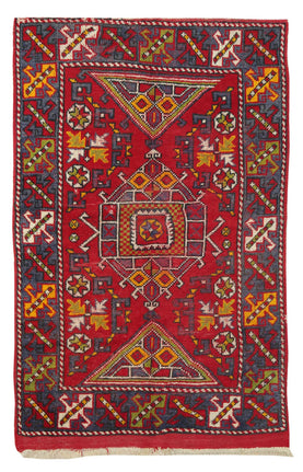 Vintage Turkish Carpet - Traditional Handwoven Red Rug With Medallion Tribal Carpets