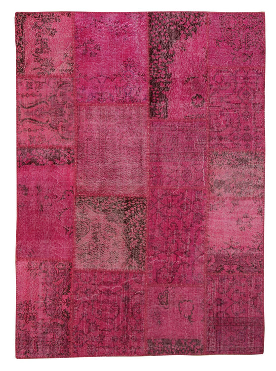 The Orient Bazaar - Overdyed Rug - Fuchsia Color Vintage Patchwork Rug -  Recoloured Contemporary Rug