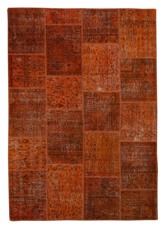 The Orient Bazaar - Overdyed Rug - Orange Color Vintage Patchwork Rug -  Recoloured Contemporary Rug