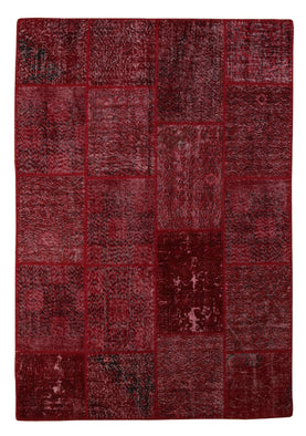 Red Overdyed Patchwork Rug 5X7