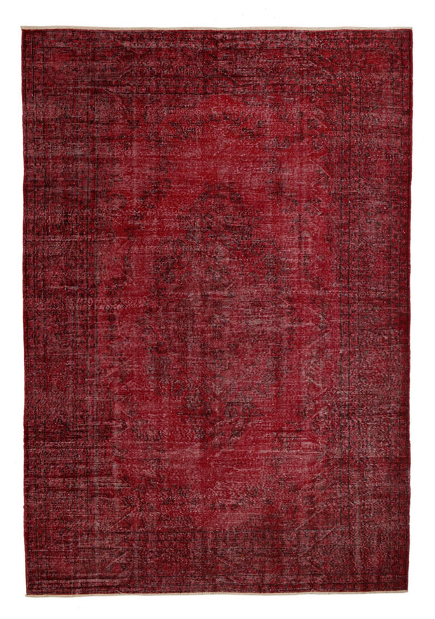 Overdyed Rug Red Recoloured Carpet