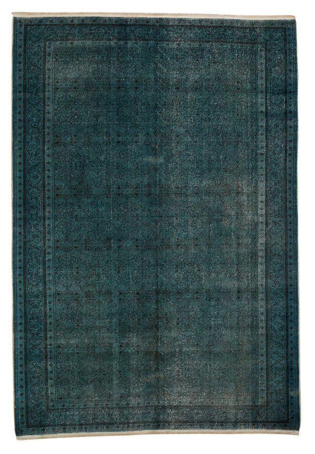 Stylish Dark Dirty Turquoise Rug Recoloured Carpet