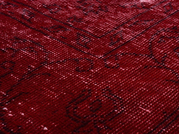 Stylish Red Overdyed Carpet Rug Recoloured