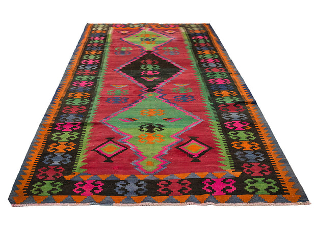 Black Framed Vivid Red Long Anatolian Rug