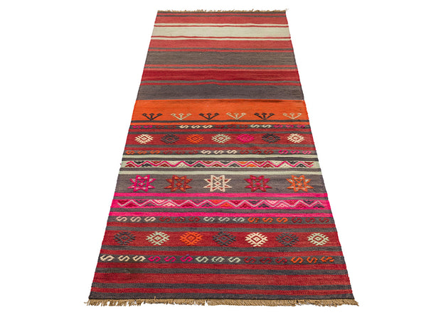 Rare Design Orange and Black Narrow Hall Rug