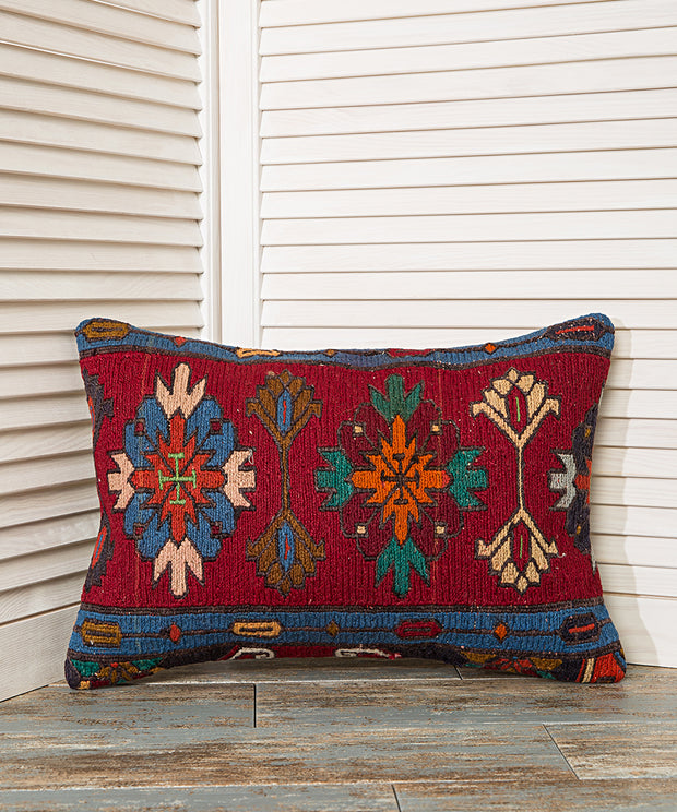 Red and Blue Lumbar Pillow 20x14