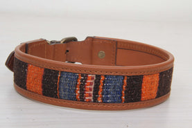Bohemian Kilim And Leather Dog Collar - Large Size Collars