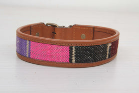 Pink And Purple Ethnic Dog Collar - Large Size Collars