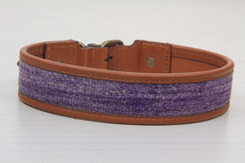 Purple Kilim Rug And Brown Leather Dog Collar - Large Size Collars