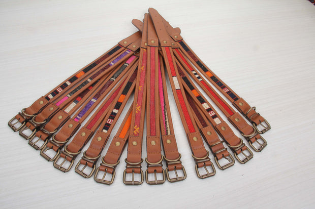 Brown Leather Dog Collar Red Kilim Rug Collars