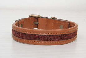 Burgundy Dog Collar Brown Leather - Medium Size Collars