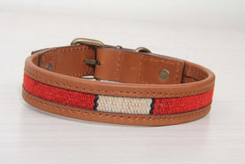 Red And White Dog Collar - Medium Size Collars