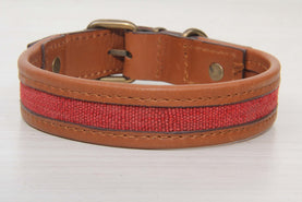 Red Kilim Dog Collar With Brown Leather - Medium Size Collars