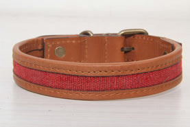 Dog Collar With Red Kilim Rug - Medium Size Collars