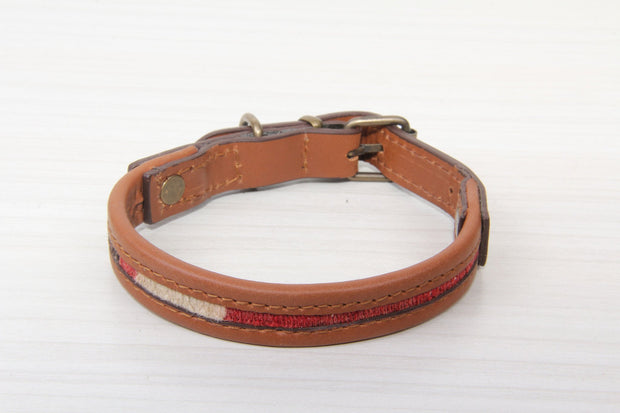 Small Size Cat/dog Collar - Brown Leather Red Kilim Rug Dog Collars