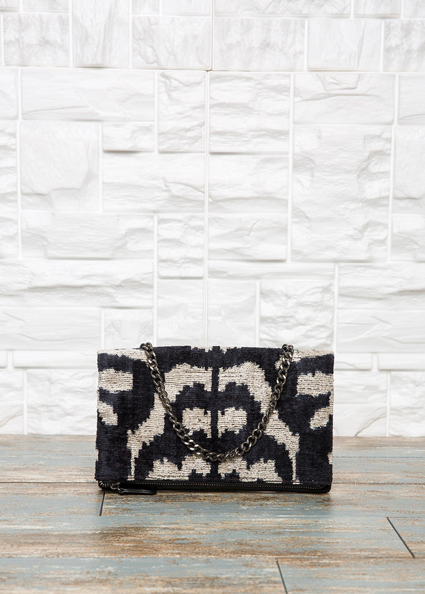 Black Leather Foldover Clutch - The Orient Bazaar