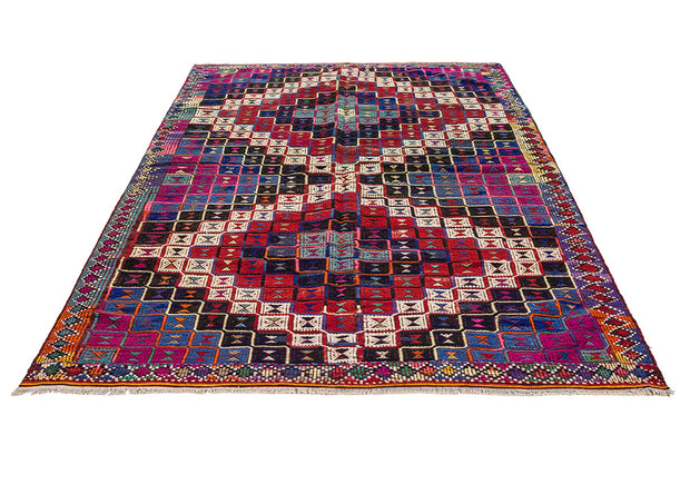 Pink and Blue Geometric Rug