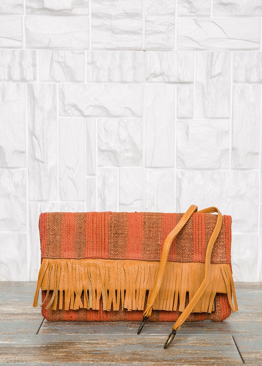 Foldover Orange Clutch Bag