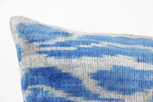 Blue & White Velvet Ikat Pillow 20X14
