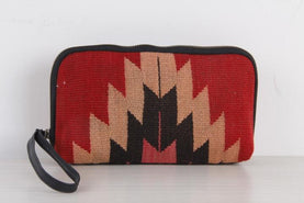 Make-Up Bag / Large Size Diamond Pattern Red Cosmetic Bags