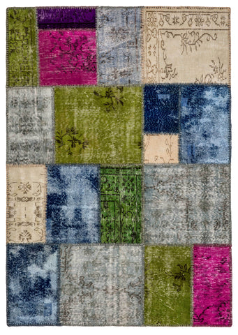 Blue-Green Patchwork Area Rug