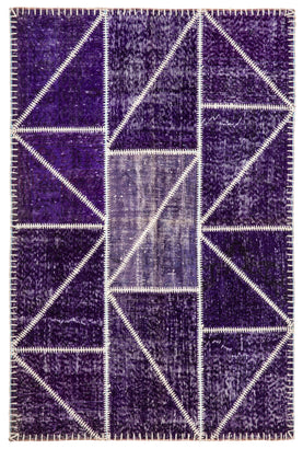 Purple Patchwork Area Rug