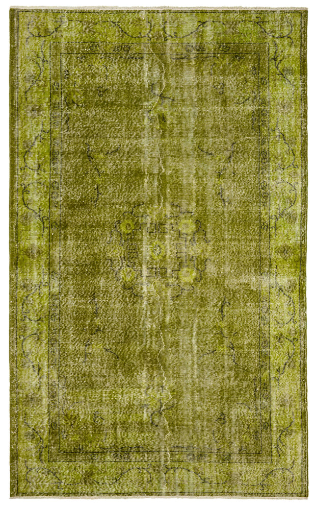 Light Green Floral Distressed Rug