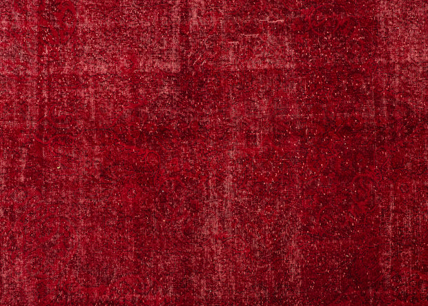 Red Floral Pattern Overdyed Rug