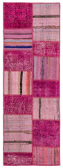 Modern Bohemian Distressed Pink Patchwork Runner Rug