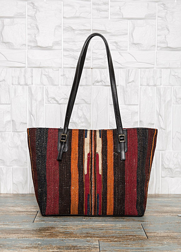 Black Leather Carpet Tote Bag Bags