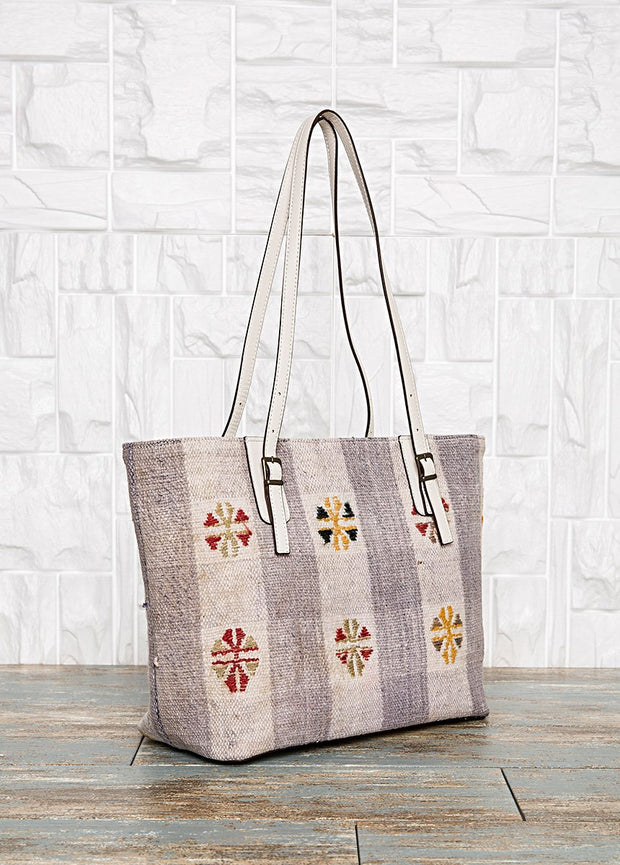 White Leather Tote Bag Bags