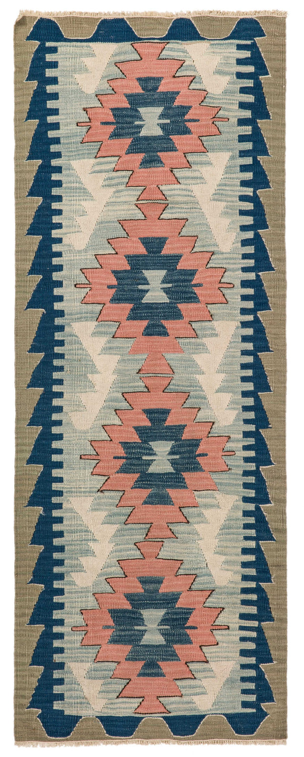 Pink Embroidered Khaki and Navy Blue Pale Rug