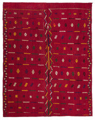 Red Thin Wool Kilim Rug