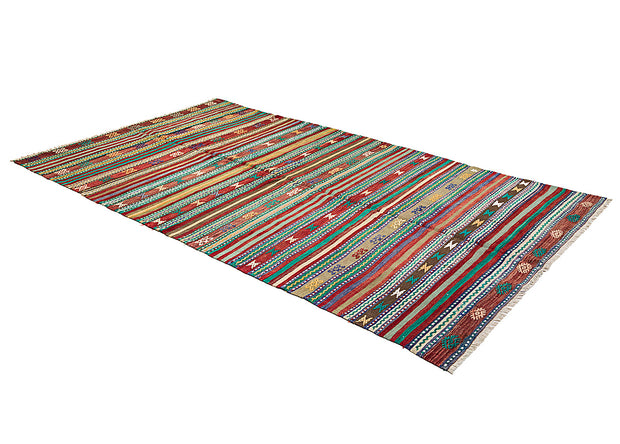 Cross Stitched Red and Green Kilim Rug