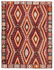 Bright Red Anatolian Accent Rug