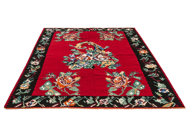 Black Framed Floral Red Kilim Rug