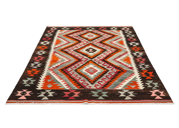 Vintage Design Green Embroidered Red Rug