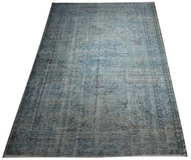 Ice Blue Faded Rug Distressed Rugs For Living Room Recoloured Carpet