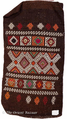 Turkish Kilim Sack - Cross & Diamond Motifs On Dark Brown Sacks
