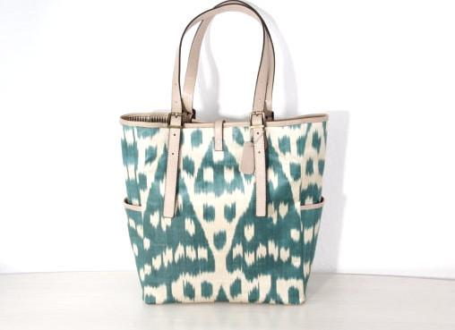 Tote Bag Silk Ikat Shopping Shoulder Beige Teal Leather Design One Of A Kind Hand Made Blue Dia Bags