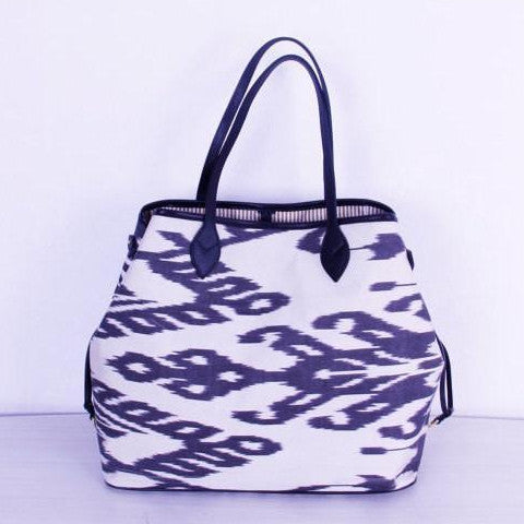 Silk Ikat Bag with Black and White Colors