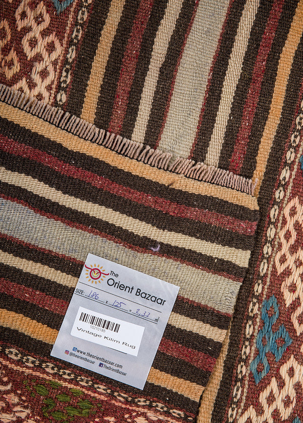 Thick Striped Beige Area Rug