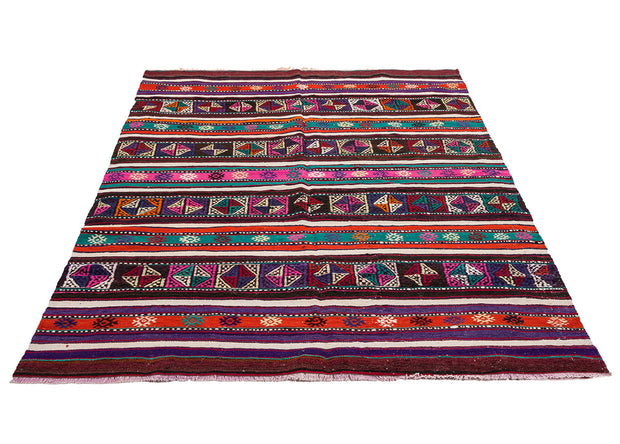 Pink and Purple Striped Modern Decor Rug