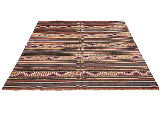 Zigzag Striped Pale Retro Rug