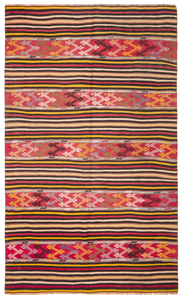 Yellow Striped Deep Red Decorative Rug