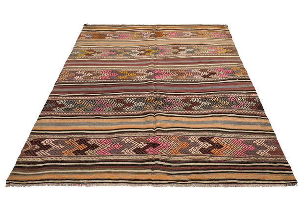 Faded Striped Style Vintage Rug