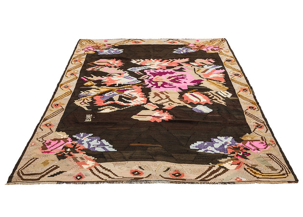Modern Brown Rug with Pink Floral Medallion