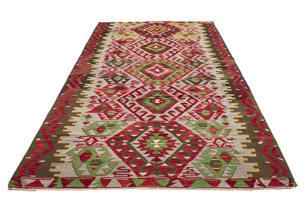 Green Medallion Red Hallway Rug