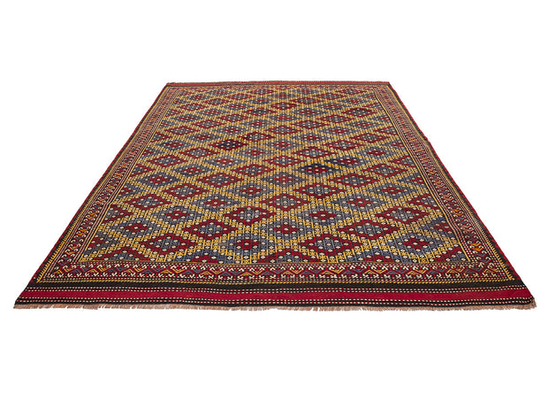 Yellow Diamonds Embroidered Kilim Accent Rug
