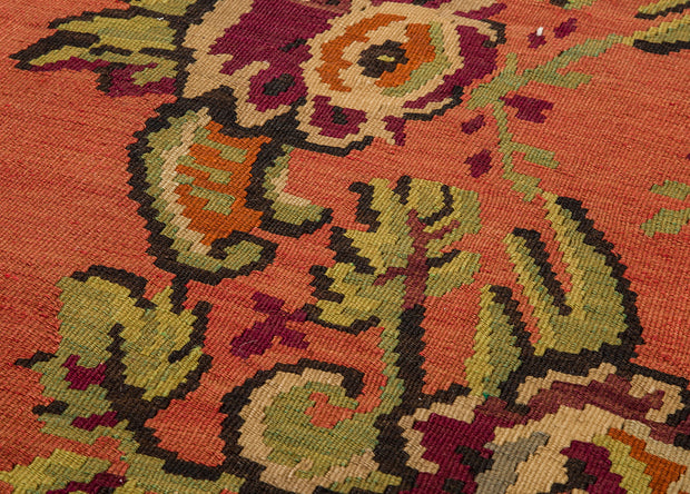 Floral Medallion Orange Entrance Runner Rug